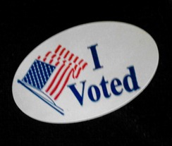 This is my voting sticker from the front of my coat!